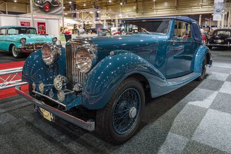 coupe: MAASTRICHT, NETHERLANDS - JANUARY 14, 2016: Vintage car Bentley 4 14 Litre Derby Drophead Coupe, 1936. International Exhibition InterClassics & Topmobiel 2016