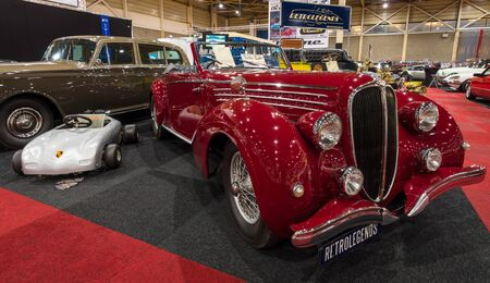 ms: MAASTRICHT, NETHERLANDS - JANUARY 14, 2016: Luxury car Delahaye 135 MS Cabriolet by Pennock, 1948. International Exhibition InterClassics & Topmobiel 2016