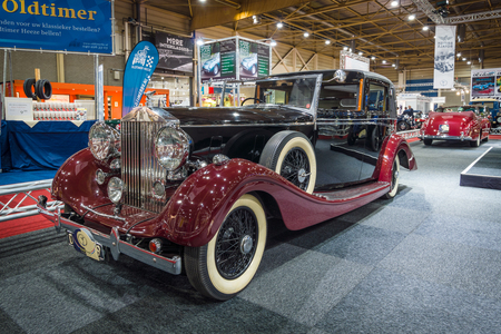wraith: MAASTRICHT, NETHERLANDS - JANUARY 14, 2016: Luxury car Rolls-Royce Wraith Sedanca de Ville, 1939. International Exhibition InterClassics & Topmobiel 2016 Editorial
