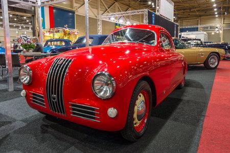 fiat: MAASTRICHT, NETHERLANDS - JANUARY 14, 2016: Sports car Fiat 1100 S Mille Miglia, 1947. International Exhibition InterClassics & Topmobiel 2016