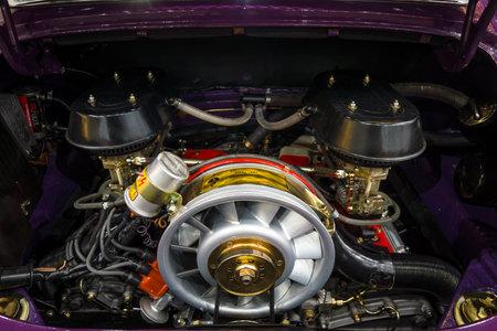 engine compartment: MAASTRICHT, NETHERLANDS - JANUARY 15, 2016: The engine of a sports car Porsche 911 RS, closeup, 1973. International Exhibition InterClassics & Topmobiel 2016