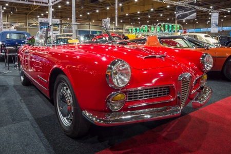 romeo: MAASTRICHT, NETHERLANDS - JANUARY 15, 2016: Luxury car Alfa Romeo 2000 Spider Touring, 1961. International Exhibition InterClassics & Topmobiel 2016