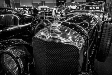 chassis: MAASTRICHT, NETHERLANDS - JANUARY 15, 2016: Fragment of a vintage car Bentley Special Speed 8 (built on the chassis Bentley Mark VI), 1948. International Exhibition InterClassics & Topmobiel 2016