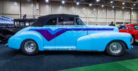 chevrolet: MAASTRICHT, NETHERLANDS - JANUARY 15, 2016: Vintage car Chevrolet Hot Rod, 1947. International Exhibition InterClassics & Topmobiel 2016
