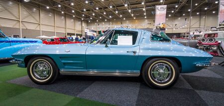 corvette: MAASTRICHT, NETHERLANDS - JANUARY 15, 2016: Sports car Chevrolet Corvette C2 Split Window, 1963. International Exhibition InterClassics & Topmobiel 2016 Editorial