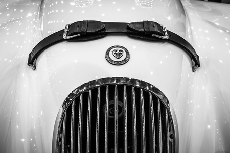 roadster: MAASTRICHT, NETHERLANDS - JANUARY 15, 2016: Fragment of a sports car Jaguar XK120 roadster. International Exhibition InterClassics & Topmobiel 2016