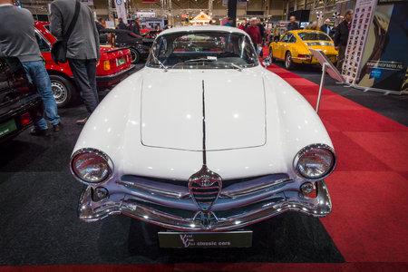 alfa: MAASTRICHT, NETHERLANDS - JANUARY 15, 2016: Sports car Alfa Romeo Giulia Sprint Speciale, 1964. International Exhibition InterClassics & Topmobiel 2016