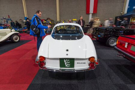 romeo: MAASTRICHT, NETHERLANDS - JANUARY 15, 2016: Sports car Alfa Romeo Giulia Sprint Speciale, 1964. Rear view. International Exhibition InterClassics & Topmobiel 2016