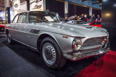 coupe: MAASTRICHT, NETHERLANDS - JANUARY 15, 2016: Luxurious coupe Iso Rivolta GT IR 300, 1968. International Exhibition InterClassics & Topmobiel 2016
