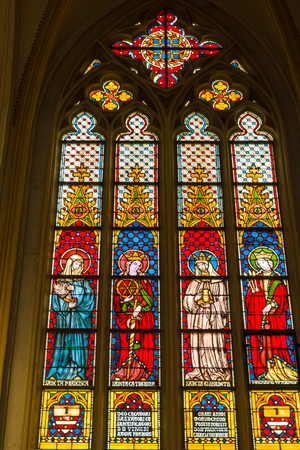 oldest: MAASTRICHT, NETHERLANDS - JANUARY 16, 2016: Stained glass windows of Basilica of Saint Servatius, the oldest church in the Netherlands.