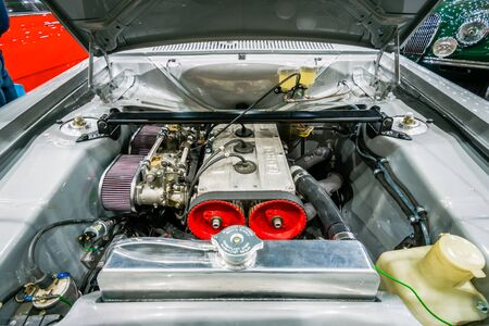 escort: MAASTRICHT, NETHERLANDS - JANUARY 15, 2016: Engine of small family car Ford Escort RS1600 Mark I. International Exhibition InterClassics & Topmobiel 2016