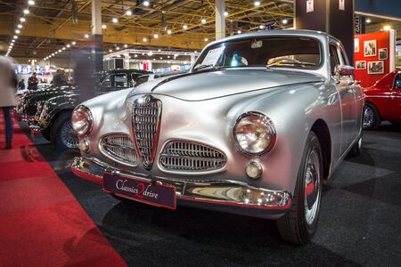 romeo: MAASTRICHT, NETHERLANDS - JANUARY 15, 2016: Executive car Alfa Romeo 1900 Berlina, 1954. International Exhibition InterClassics & Topmobiel 2016