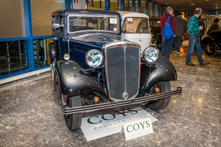 morris: MAASTRICHT, NETHERLANDS - JANUARY 15, 2016: Vintage car Morris Twelve Four Pre-Series, 1937. International Exhibition InterClassics & Topmobiel 2016