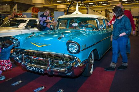 bel air: MAASTRICHT, NETHERLANDS - JANUARY 15, 2016: Full-size car Chevrolet Bel Air, 1957. International Exhibition InterClassics & Topmobiel 2016