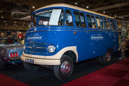 minibus: MAASTRICHT, NETHERLANDS - JANUARY 15, 2016: Minibus L406 Diesel, 1966. International Exhibition InterClassics & Topmobiel 2016 Editorial