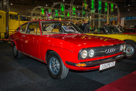 coupe: MAASTRICHT, NETHERLANDS - JANUARY 15, 2016: Vintage car Audi 100 Coupe S, 1973. International Exhibition InterClassics & Topmobiel 2016