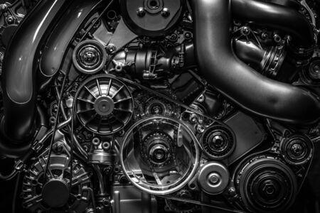Engine. Close-up. Black and white. Reklamní fotografie