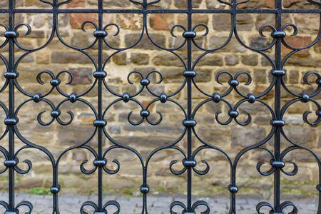 Beautiful wrought iron fence. Background. Stock Photo