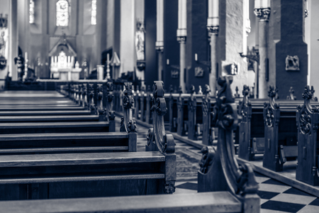 Church Pews. Toning. Focus on the foreground.