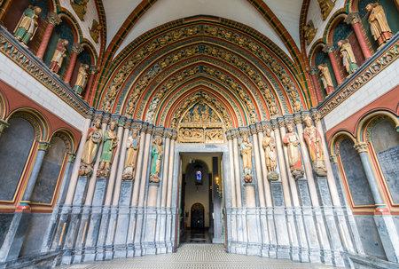 hdri: MAASTRICHT, NETHERLANDS - JANUARY 09, 2015: Interior of Basilica of St. Servatius. South portal. HDRi. The Basilica of St. Servatius is a oldest Roman catholic church the Netherlands. Editorial
