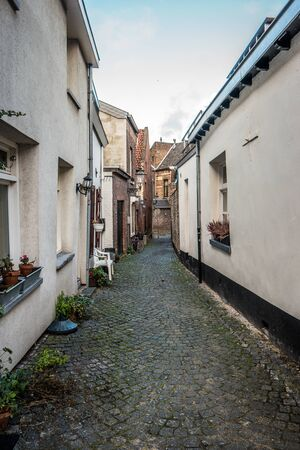 limburg: MAASTRICHT, NETHERLANDS - JANUARY 16, 2016: Old streets in the historic center. Maastricht is the oldest city of the Netherlands and the capital city of the province of Limburg. Editorial