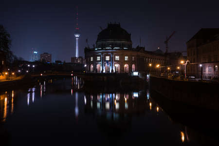 bode: BERLIN - MARCH 05, 2016: The Bode Museum at night. State Art Museum. Located on the Museum Island.