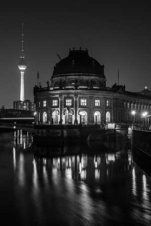 bode: BERLIN - MARCH 05, 2016: The Bode Museum at night. State Art Museum. Located on the Museum Island. Black and white.