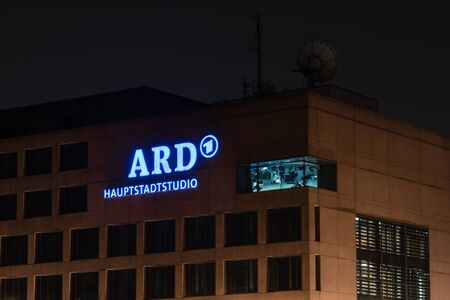 ard: BERLIN - MARCH 05, 2016: Headquarters - ARD (Consortium of public-law broadcasting institutions of the Federal Republic of Germany) in the night illumination. Editorial