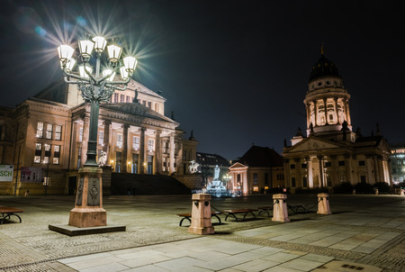 hdri: BERLIN - MARCH 05, 2016: Square Gendarmenmarkt, Konzerthaus and Franch Cathedral in night illumination. HDR. Toning.