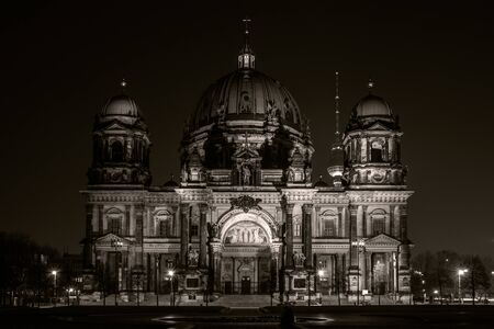 sepia toning: Berlin Cathedral (Berliner Dom) at night illumination. Toning. Sepia. Stock Photo