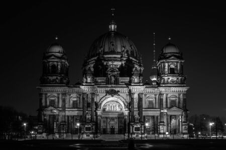 dom: Berlin Cathedral (Berliner Dom) at night illumination. Black and white.