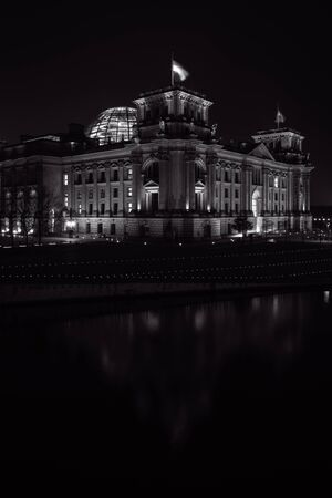 election night: Reichstag building in the night illumination. Reichstag building - is German parliament (Bundestag). Black and white. Germany
