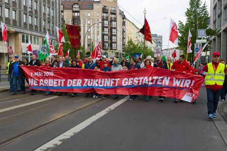 demonstration: BERLIN - MAY 01, 2015: Members of trade unions, workers and employees at the demonstration on the occasion of Labour day