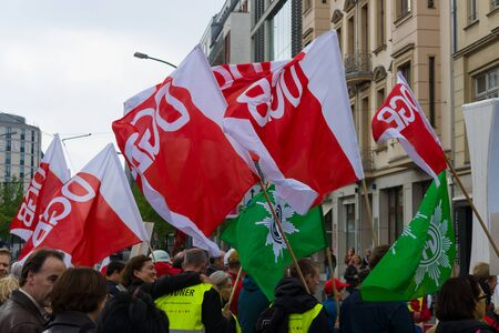 confederation: BERLIN - MAY 01, 2015: Members of trade unions, workers and employees at the demonstration on the occasion of Labour day