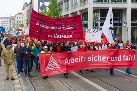 confederation: BERLIN - MAY 01, 2015: Members of trade unions, workers and employees at the demonstration on the occasion of Labour day. Editorial