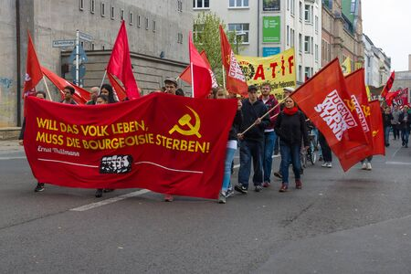minimum wage: BERLIN - MAY 01, 2015: Members of trade unions, workers and employees at the demonstration on the occasion of Labour day. Editorial