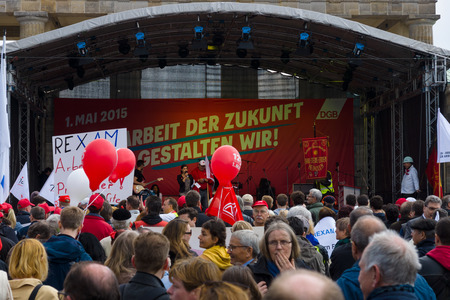 BERLIN - MAY 01, 2015: Members of trade unions, workers and employees at the demonstration on the occasion of Labour day. Editoriali