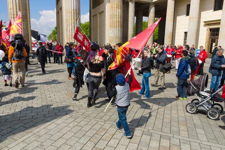 brandenburg gate: BERLIN - MAY 01, 2015: International Labour Day. Demonstrators near the Brandenburg Gate.