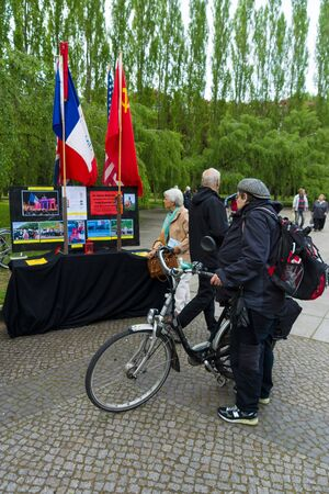 memorable: BERLIN - MAY 08, 2015: Victory in Europe Day. Treptower Park. Information stand about memorable event.