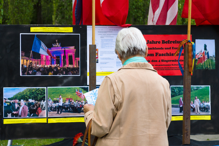 treptow: BERLIN - MAY 08, 2015: Victory in Europe Day. Treptower Park. Information stand about memorable event.