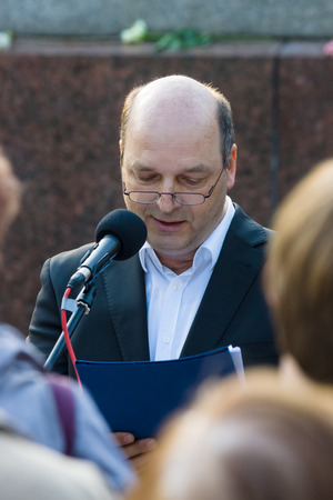 the chairman: BERLIN - MAY 08, 2015: Victory in Europe Day. Treptower Park. Speech by Chairman of the Union of anti-fascists Dr. Axel Holz.