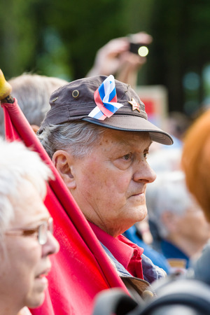 participants: BERLIN - MAY 08, 2015: Victory in Europe Day. Treptower Park. Participants of commemorative events.