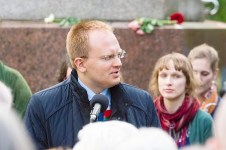 treptow: BERLIN - MAY 08, 2015: Victory in Europe Day. Treptower Park. The representative of the Embassy of Belarus in Germany, speaking at a memorial ceremony. Editorial