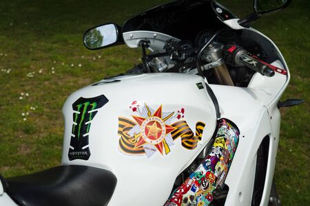 treptow: BERLIN - MAY 09, 2015: Victory Day. Bikers Moscow motor club Night Wolves visited the Soviet Memorial in Treptow Park. Editorial