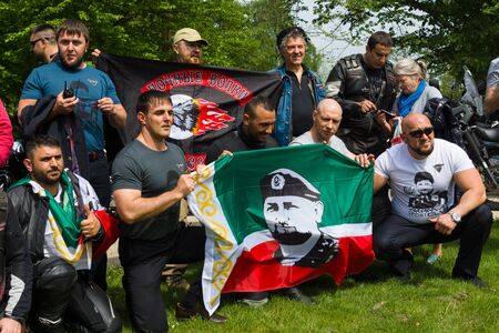 treptow: BERLIN - MAY 09, 2015: Victory Day. Bikers Moscow motorcycle club Night Wolves visited the Soviet Memorial in Treptow Park.