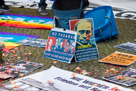 treptow: BERLIN - MAY 09, 2015: Victory Day. Posters antifascists in front of the main entrance in Treptow Park.