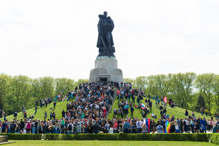 liberator: BERLIN - MAY 09, 2015: Victory Day in Treptower Park. Soviet War Memorial, and numerous guests and visitors.