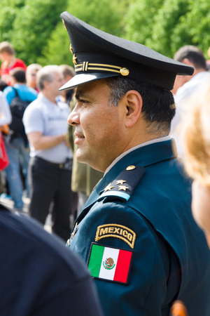 treptow: BERLIN - MAY 09, 2015: Victory Day. The officer of the Armed Forces of Mexico visited the commemorative event in Treptow Park. Editorial