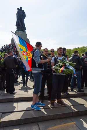 liberator: BERLIN - MAY 09, 2015: Victory Day. Monument to the Liberator Soldier in Treptow Park. Editorial