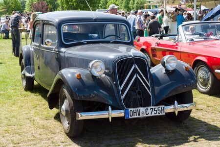 traction: PAAREN IM GLIEN, GERMANY - MAY 19: Mid-size luxury car Citroen Traction Avant, The oldtimer show in MAFZ, May 19, 2013 in Paaren im Glien, Germany